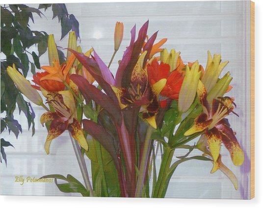 Warm Colored Flowers Wood Print