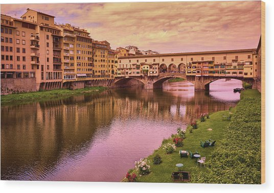 Warm Colors Surround Ponte Vecchio Wood Print