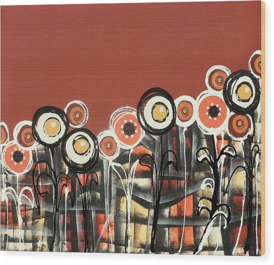 Warm Red Flowers Wood Print