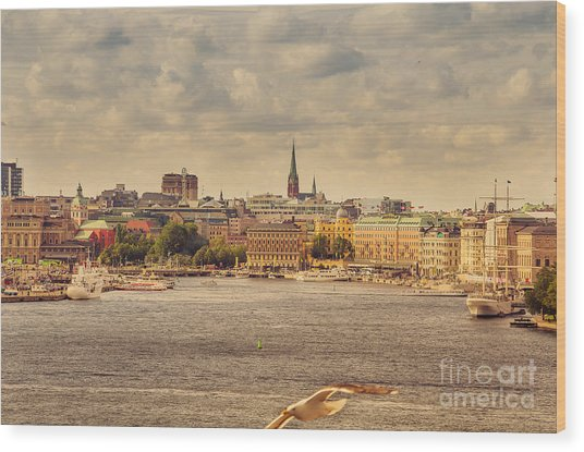 Warm Stockholm View Wood Print