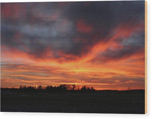 Warm Sunset Glow Wood Print