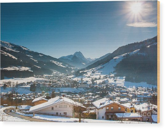 Warm Winter Day In Kirchberg Town Of Austria Wood Print