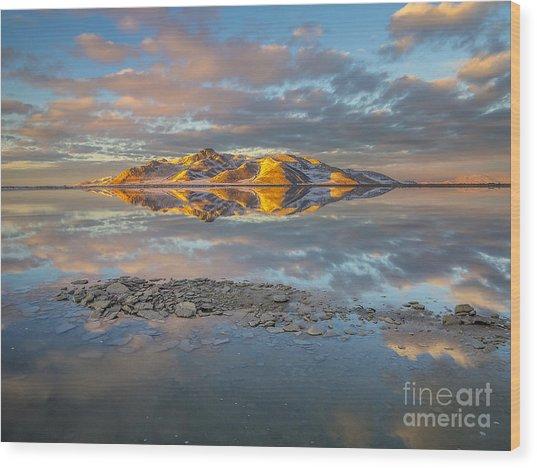 Warm Winter Sunset Wood Print