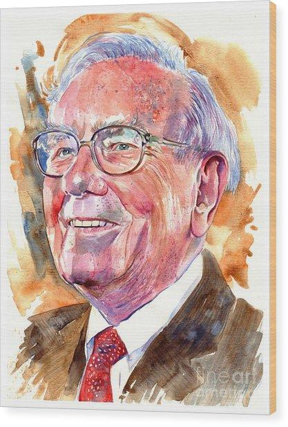 Warren Buffett Painting Wood Print
