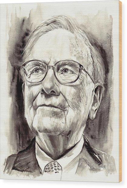 Warren Buffett Watercolor Wood Print