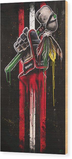 Warrior Glove On Black Wood Print