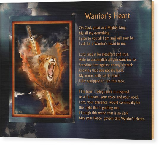 Warrior's Heart Poetry Wood Print