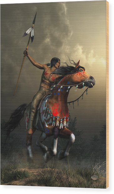 Warriors Of The Plains Wood Print