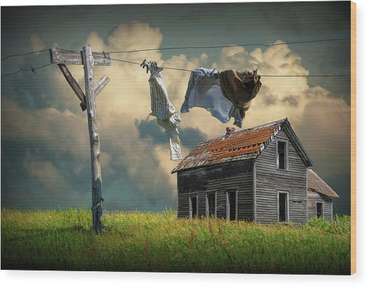 Wash On The Line By Abandoned House Wood Print