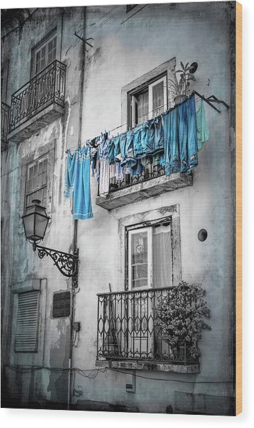 Washday Blues In Lisbon Portugal Black And White Wood Print