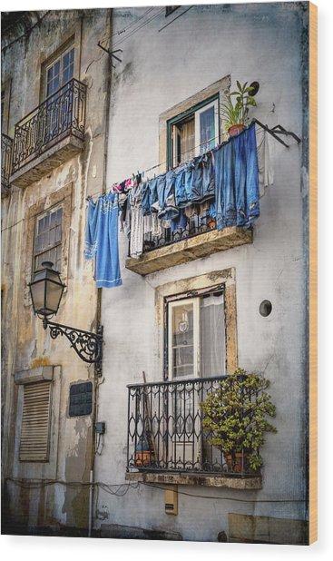 Washday Blues In Lisbon Portugal  Wood Print