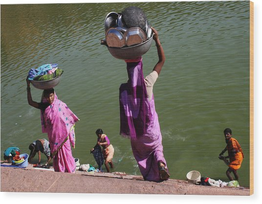 Washing Day Sari Clad Women Ghat Steps India Wood Print by Jane McDougall