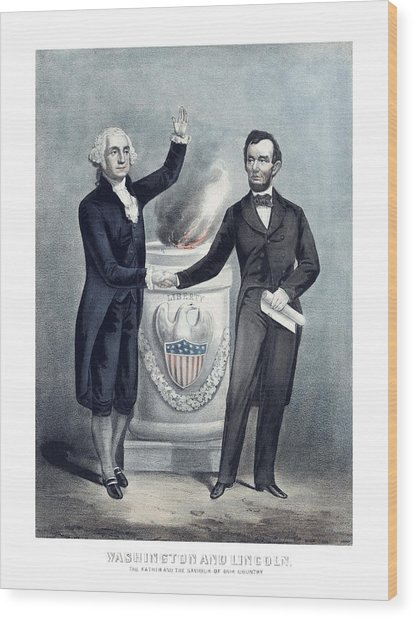 Washington And Lincoln Wood Print