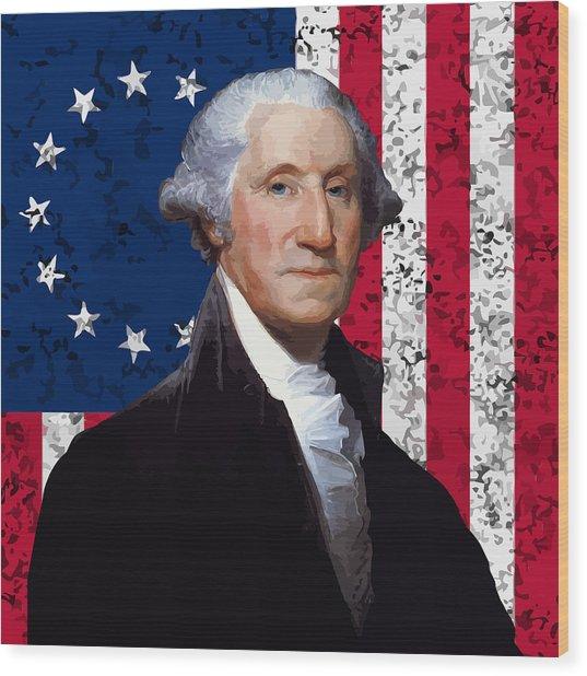 Washington And The American Flag Wood Print