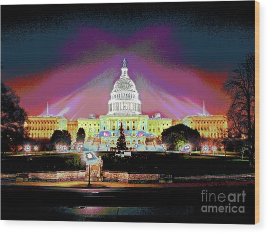 Washington Capitol Sunset Wood Print