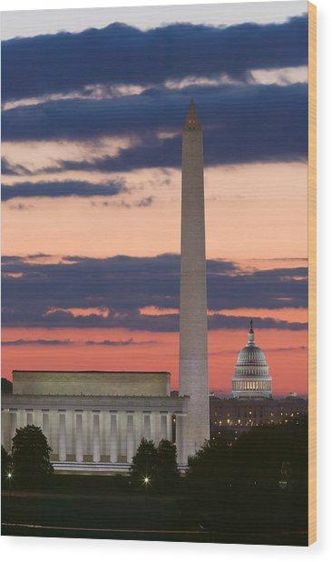 Washington Dc Landmarks At Sunrise II Wood Print