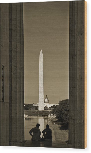 Washington Monument And Capitol #4 Wood Print