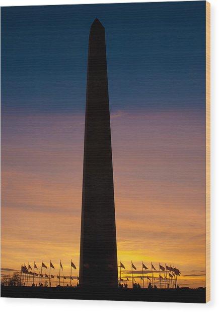 Washington Monument At Sunset Wood Print