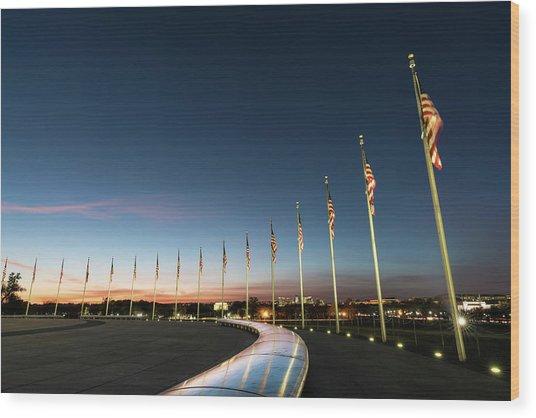Washington Monument Flags Wood Print