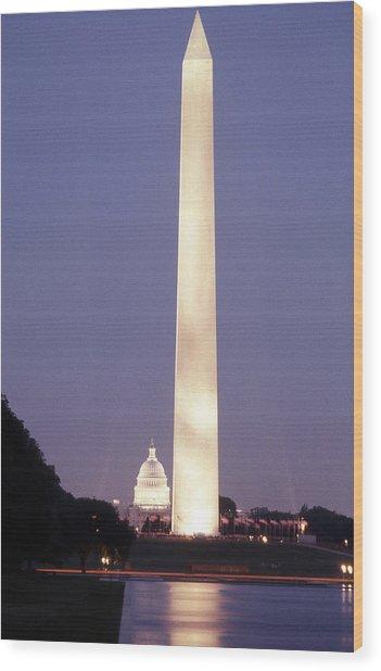 Washington Monument Washington D.c. Wading Pool Wood Print by Richard Singleton
