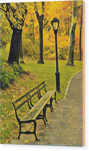 Washington Square Bench Wood Print