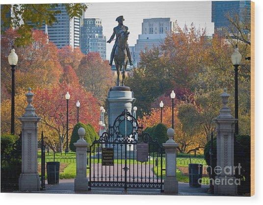 Washington Statue In Autumn Wood Print