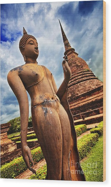 Wat Sra Sri In Sukhothai Thailand Southeast Asia Wood Print