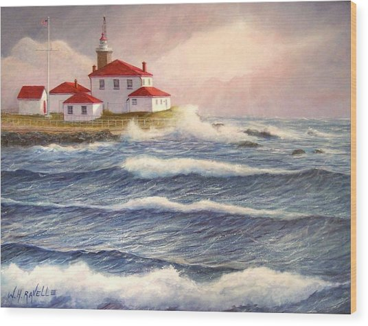 Watch Hill Lighthouse In Breaking Sun Wood Print by William H RaVell III