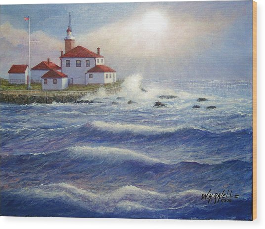Watch Hill Lighthouseri In Breaking Sun Wood Print by William H RaVell III