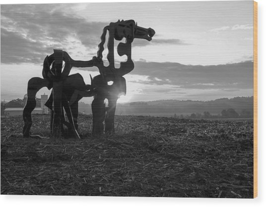 Watchful The Iron Horse  Wood Print