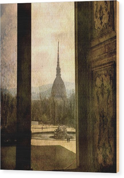 Watching Antonelliana Tower From The Window Wood Print