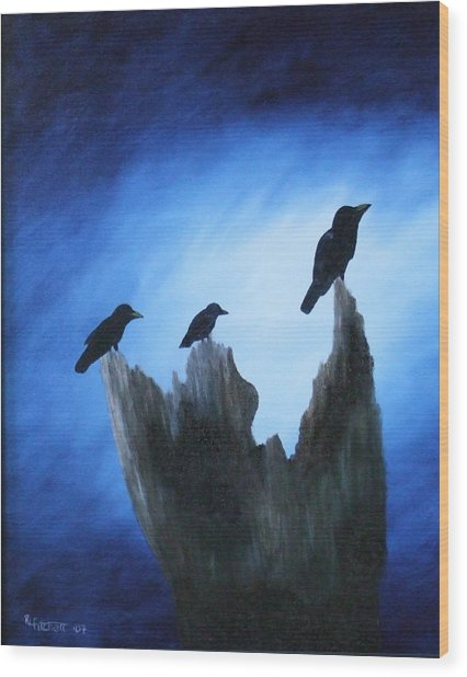 Watching For Company Wood Print by Rebecca  Fitchett