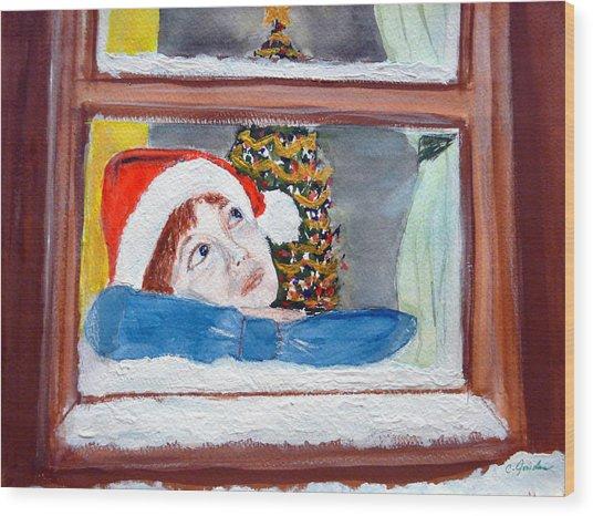 Watching For Santa Wood Print by Cathy Jourdan