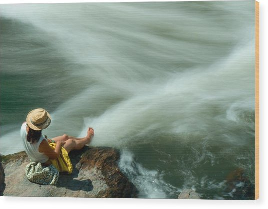 Watching The Rushing Water Wood Print