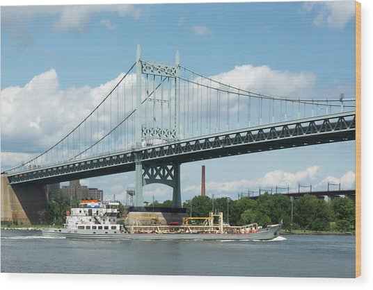 Water And Ship Under The Bridge Wood Print