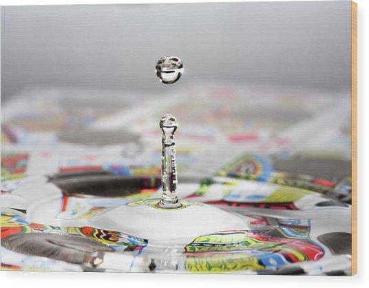 Water Drop Cards Wood Print