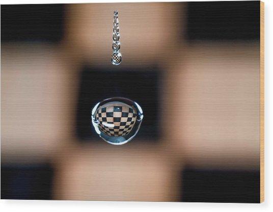 Water Drop Chess Board Wood Print