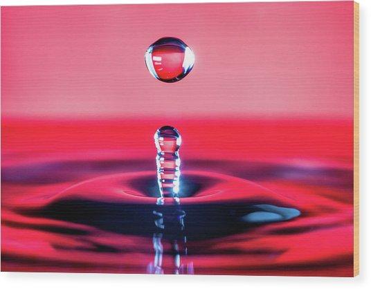 Water Drop In Red Wood Print