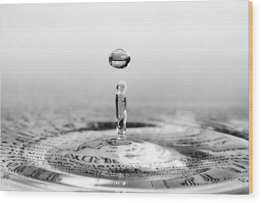 Water Drop Script Wood Print