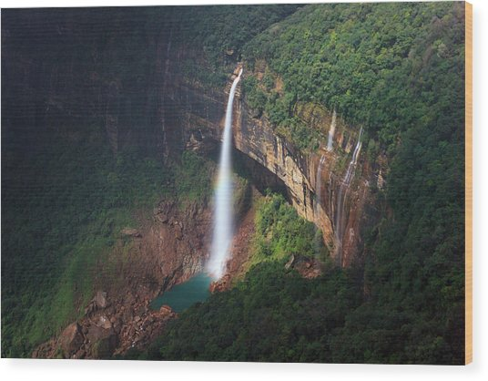 Water Falls At Cherrapunji, India Wood Print