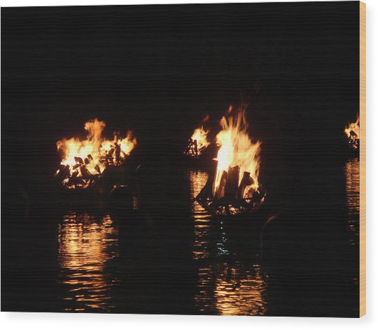 Water Fire Wood Print by Jeff Porter