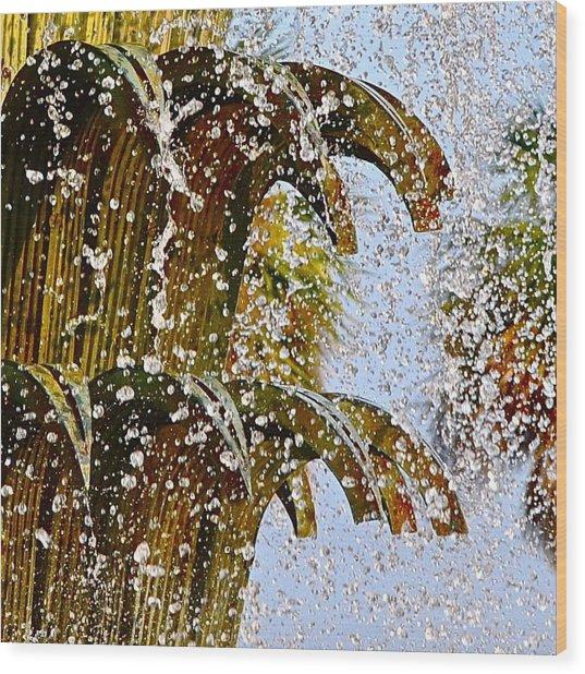 Water Fountain Yellow Charleston Sc Wood Print by Lori Kesten