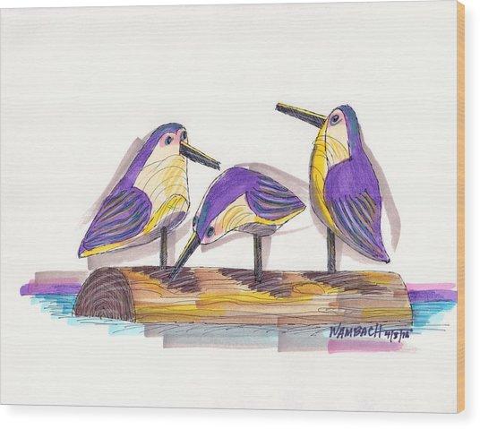 Water Fowl Motif #2 Wood Print