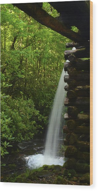 Water From The Flume Wood Print