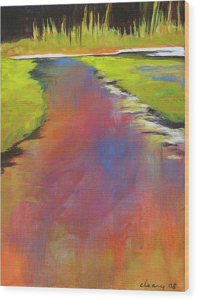 Water Garden Landscape 6 Wood Print by Melody Cleary