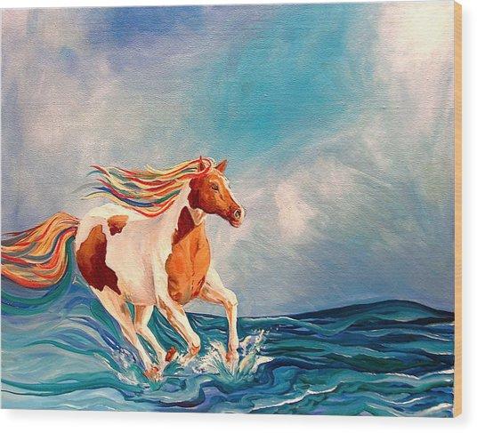 Water Horse Wood Print by Rebecca Robinson
