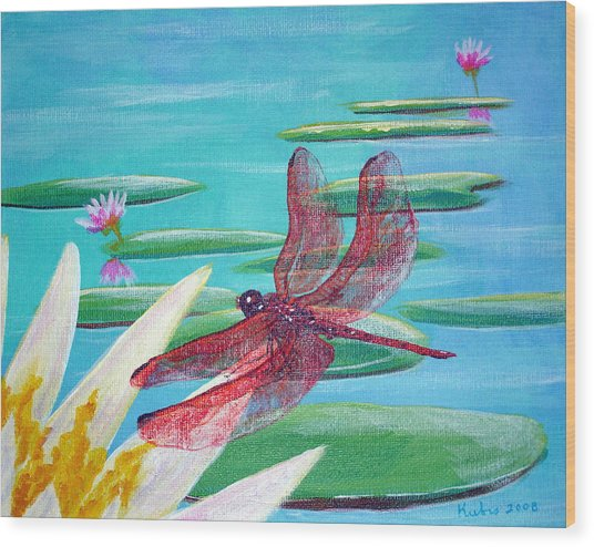 Water Lilies And Dragonfly Wood Print by Susan Kubes