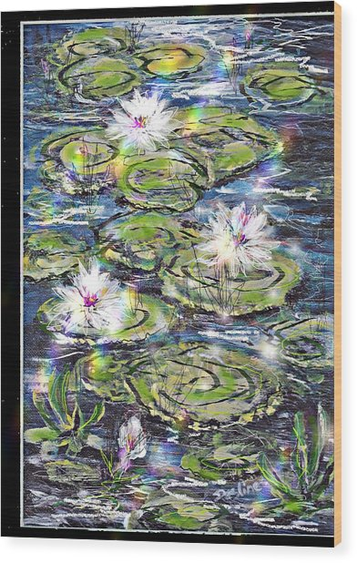 Water Lilies And Rainbows Wood Print