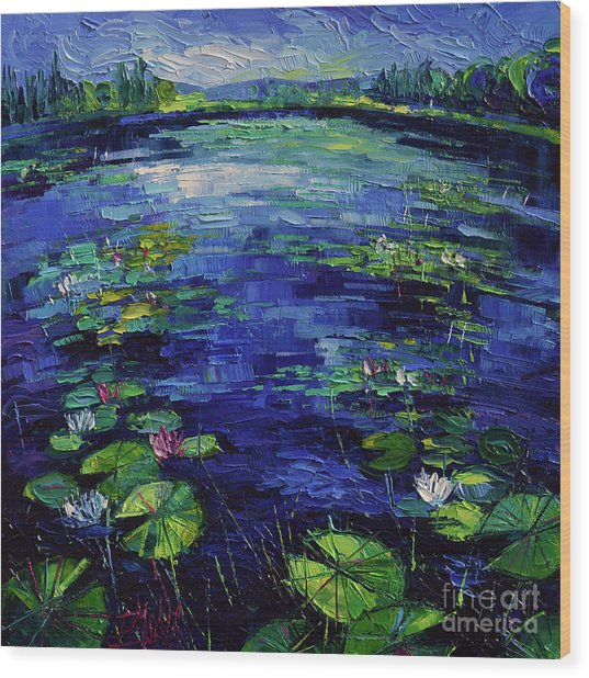Water Lilies Magic Wood Print