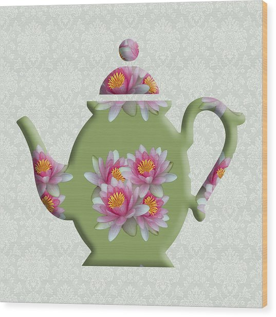 Water Lily Pattern Teapot Wood Print